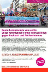 Podiumsdiskussion: Gegen Lebensschutz von Rechts, 13.09.2016